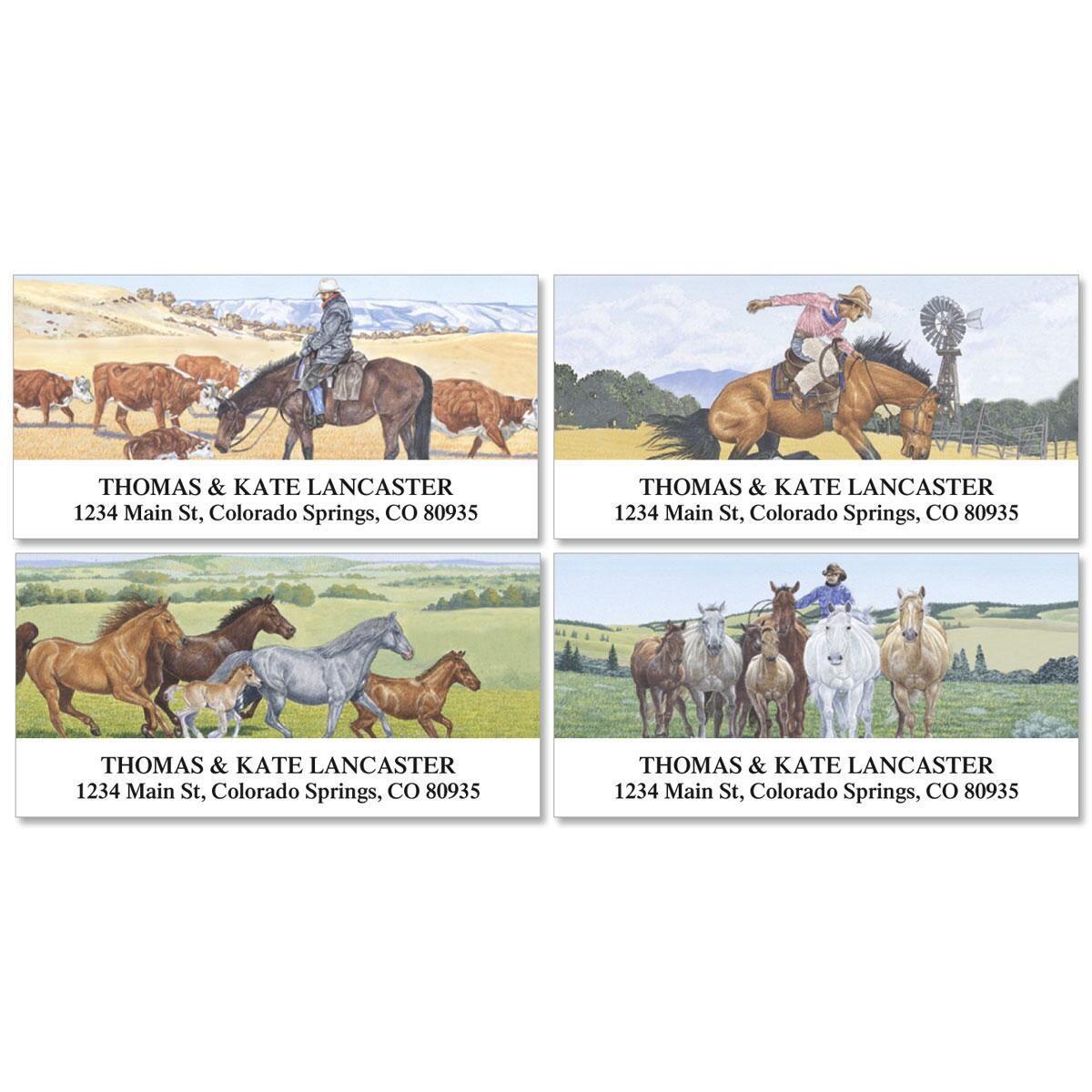 Cowboy Deluxe Return Address Labels  (4 Designs)