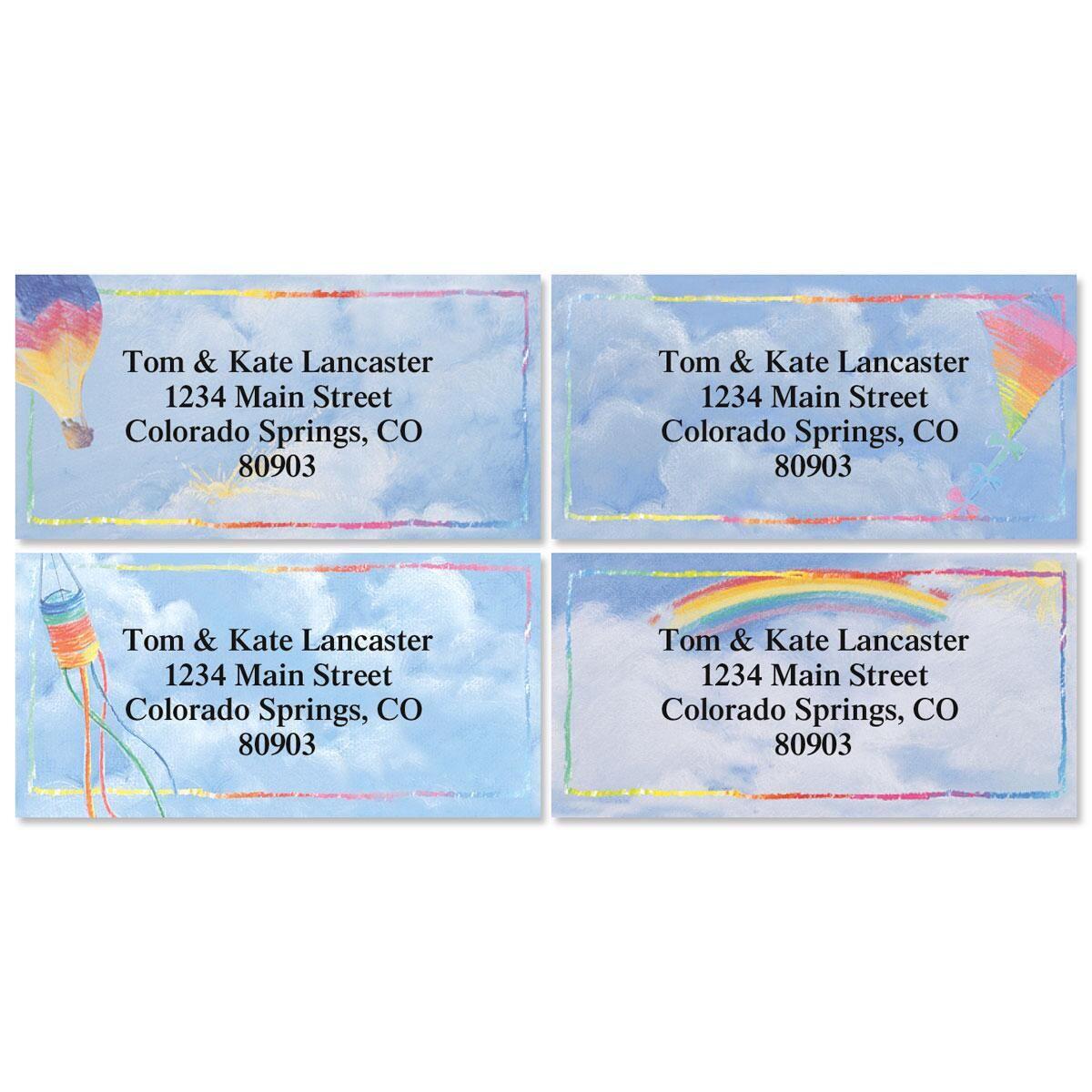 Bright Skies Border Address Labels  (4 Designs)