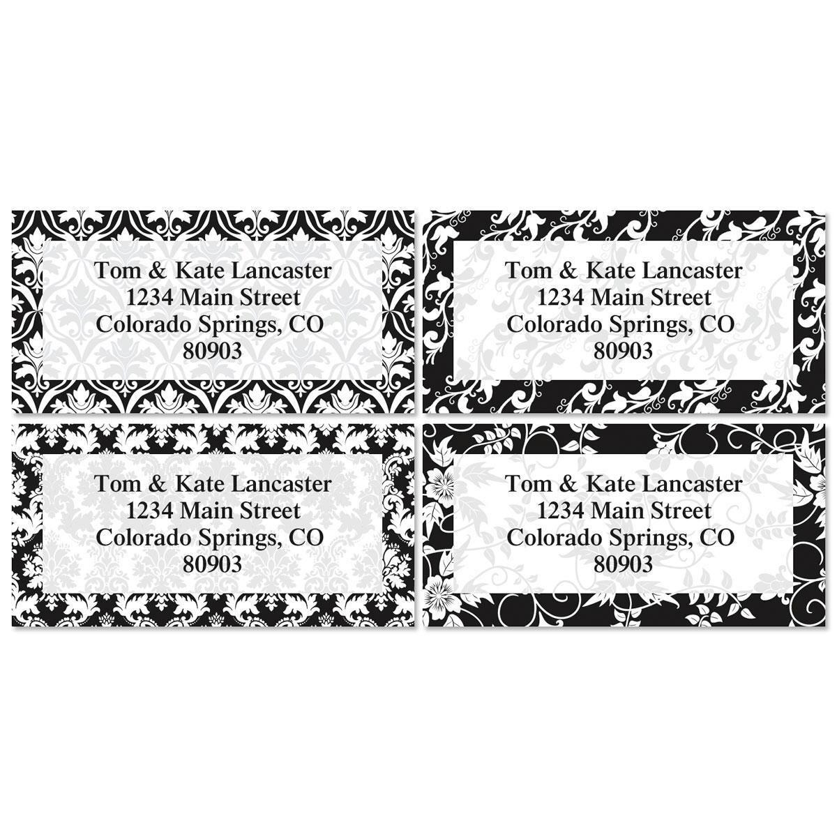 elegant in black vintage border return address labels colorful images