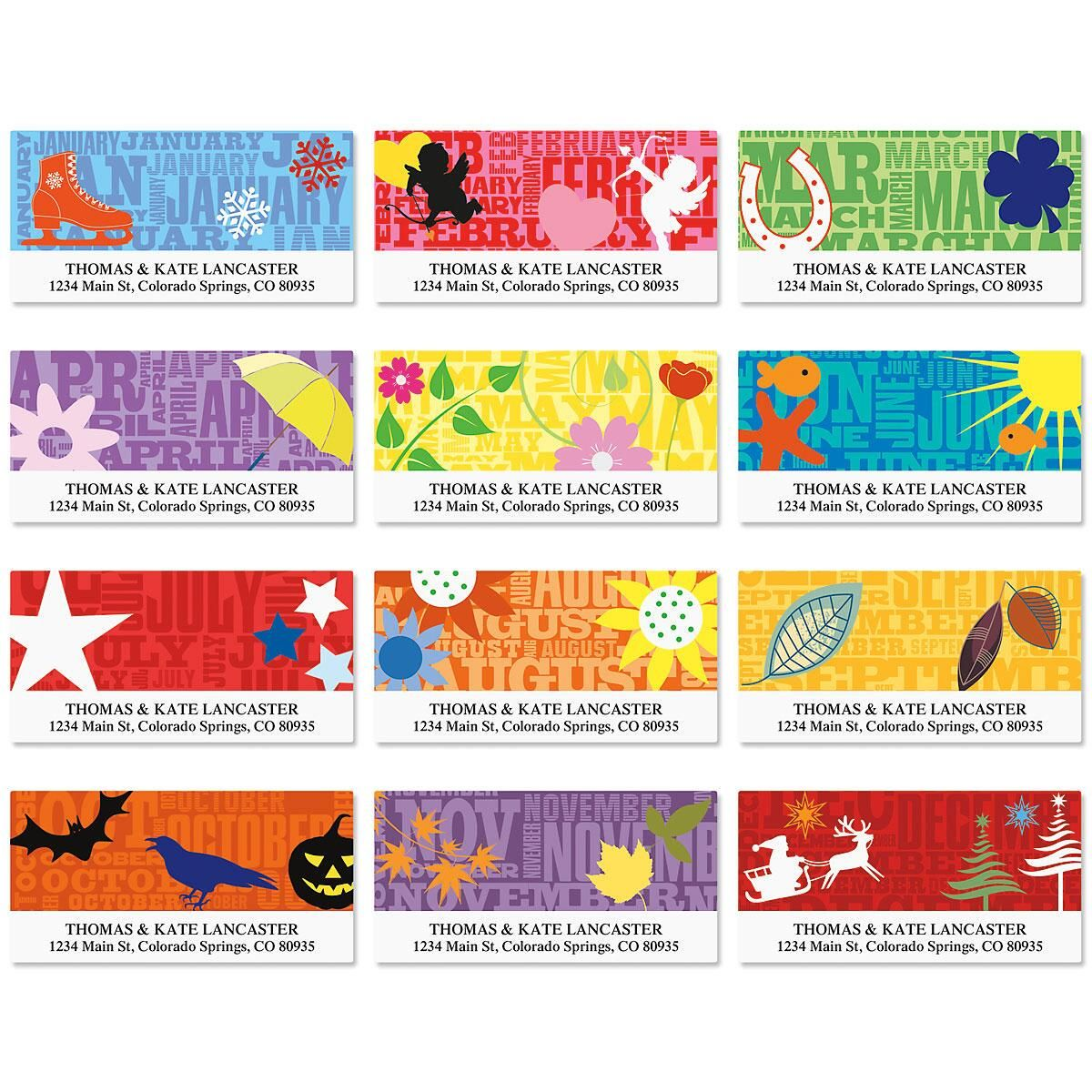 Graphic Style Deluxe Return Address Labels  (12 Monthly Designs)