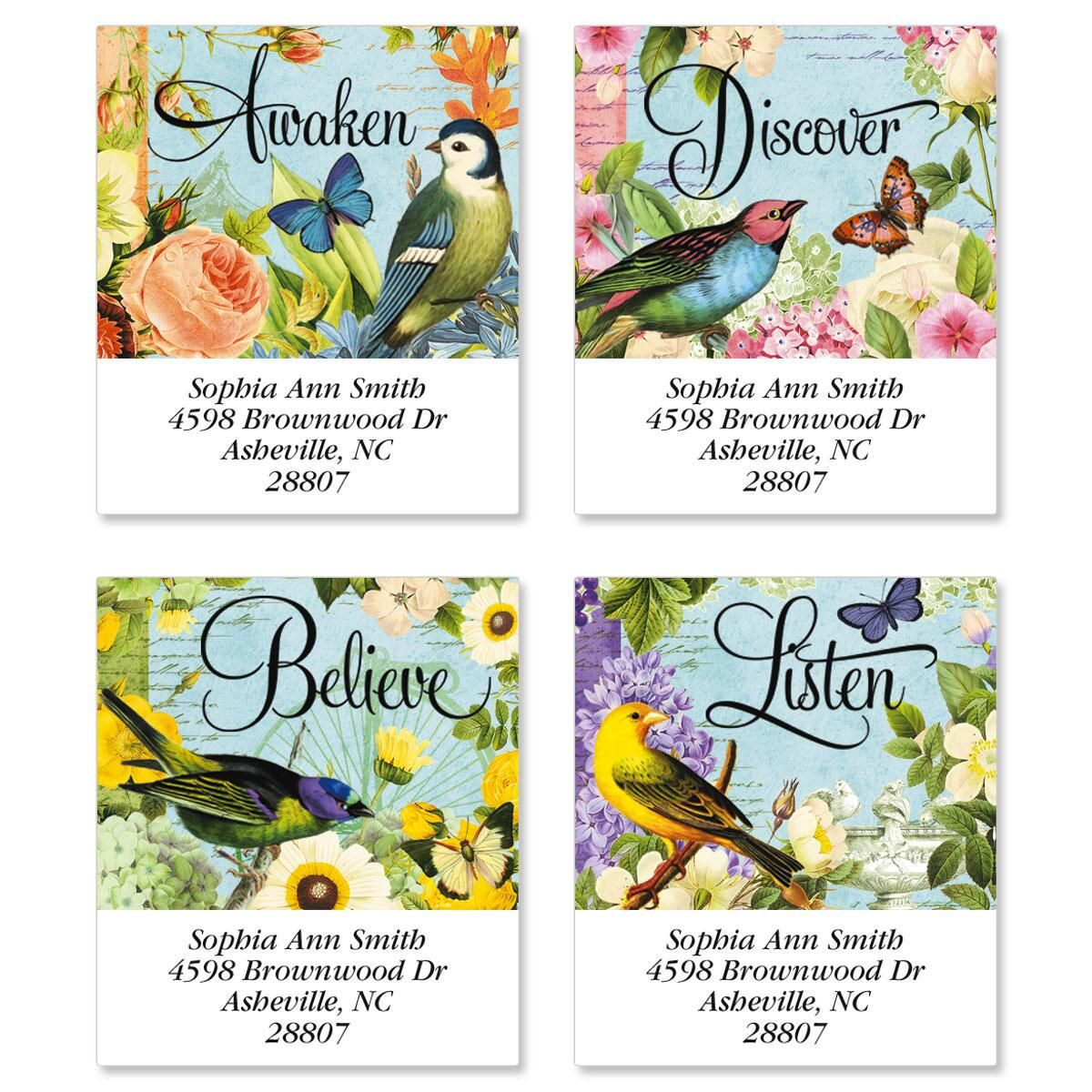 Bird Garden  Select Return Address Labels  (4 Designs)