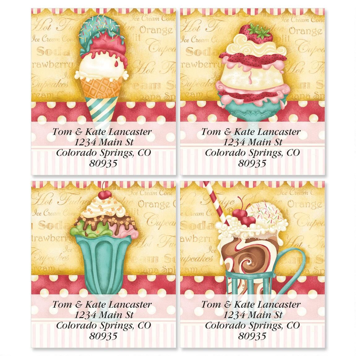 Soda Fountain Select Return Address Labels  (4 Designs)