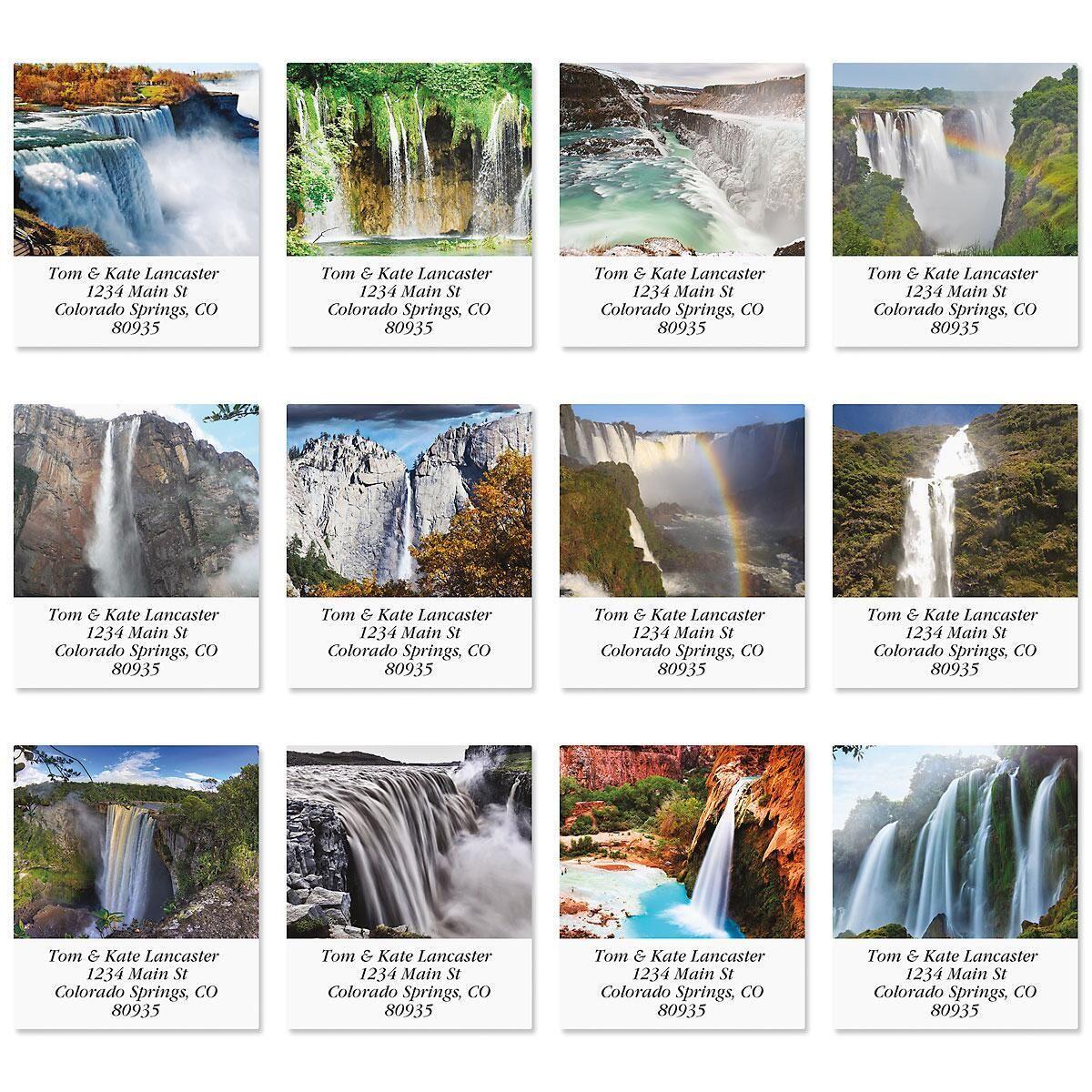 Top Ten Waterfalls  Select Address Labels  (10 Designs)