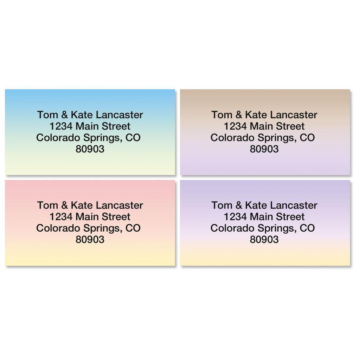 Ombre Border Return Address Labels  (4 Designs)