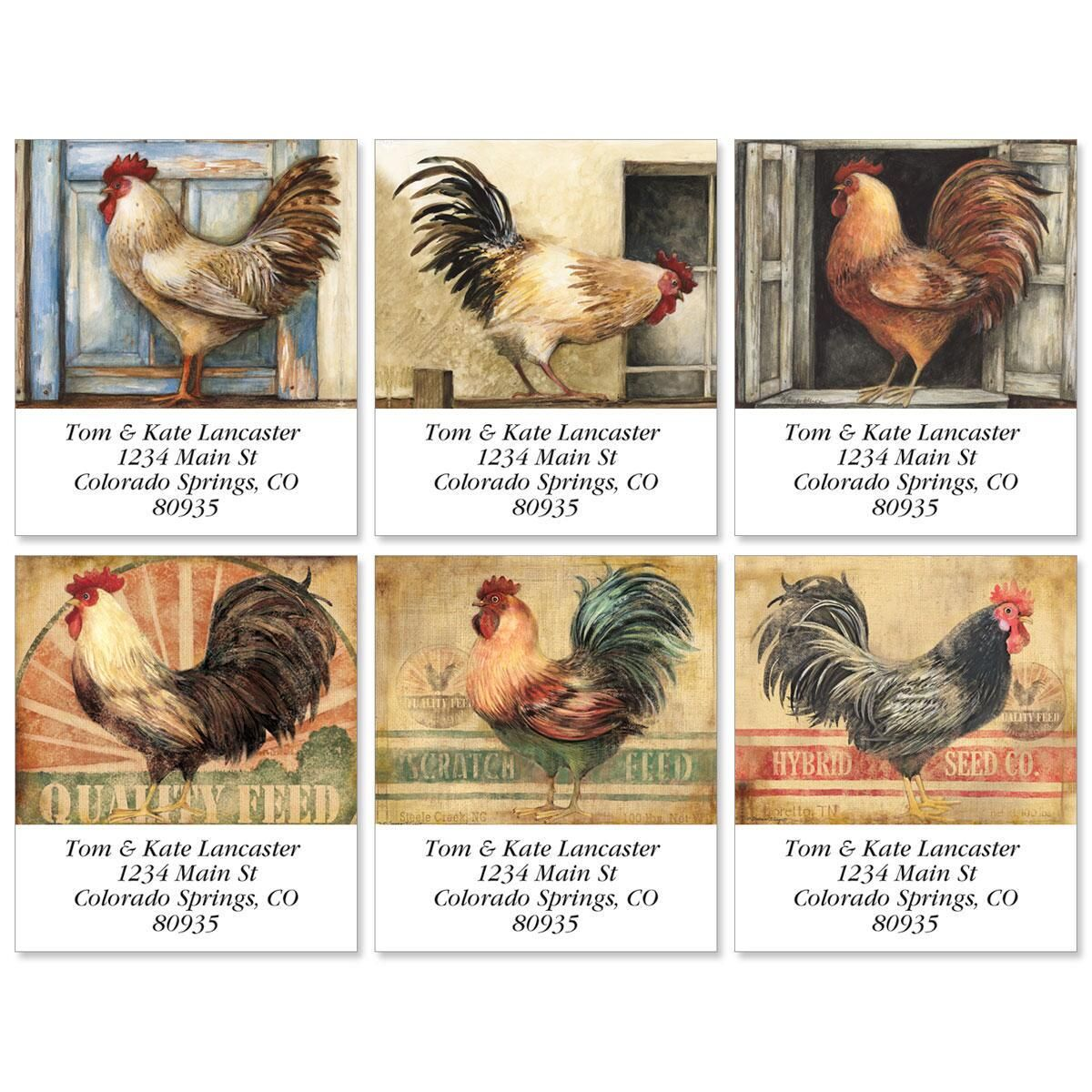 Rooster Peck Select Address Labels  (6 Designs)