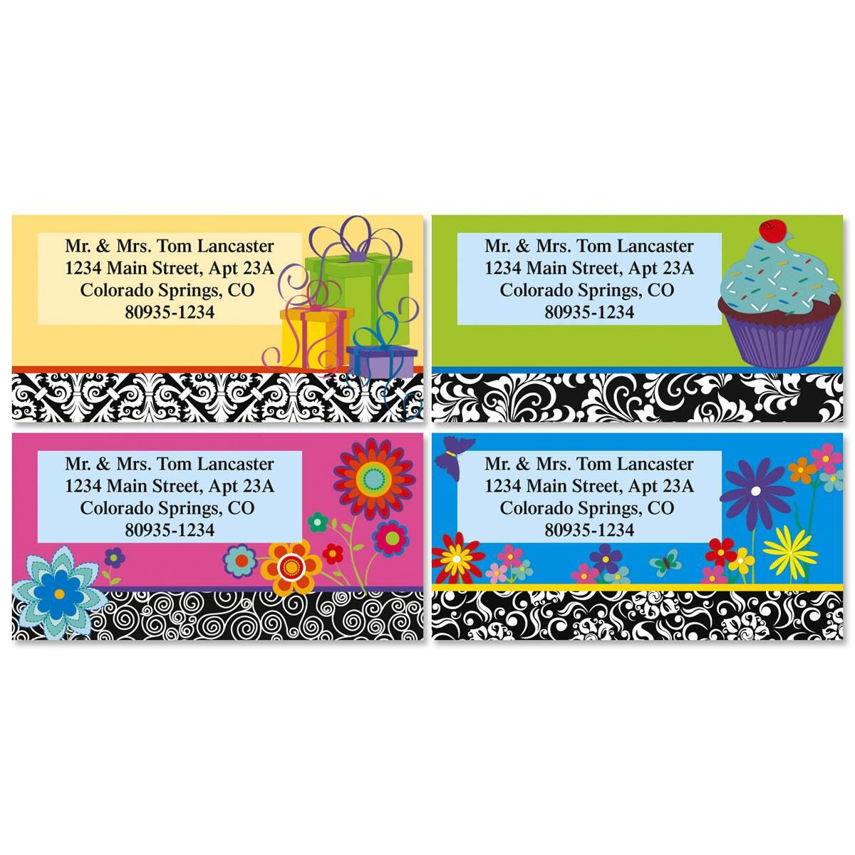 Bordered Brights Border Return Address Labels  (4 Designs)