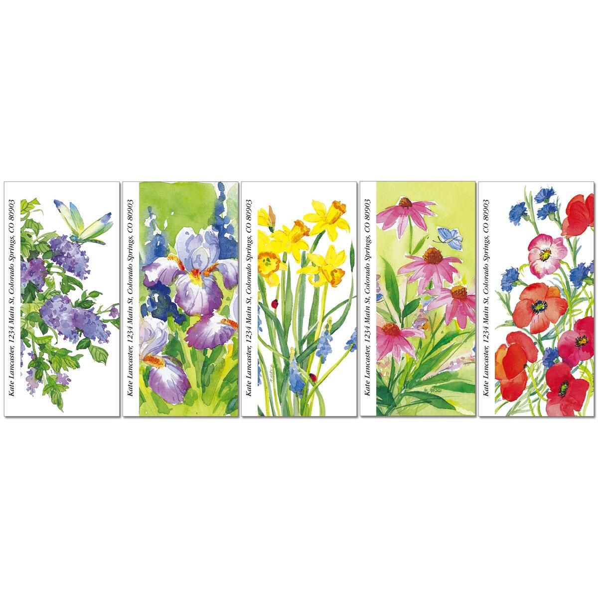 Floral Color Oversized Return Address Labels  (5 Designs)