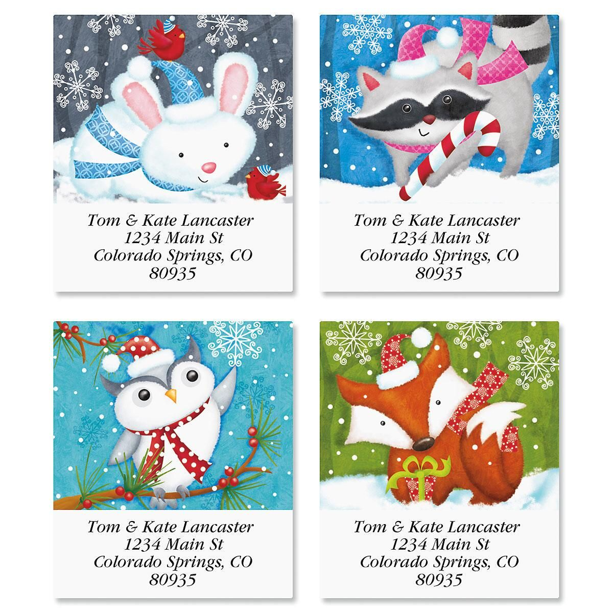 Happy Holidays Owl Select Return Address Labels  (4 Designs)