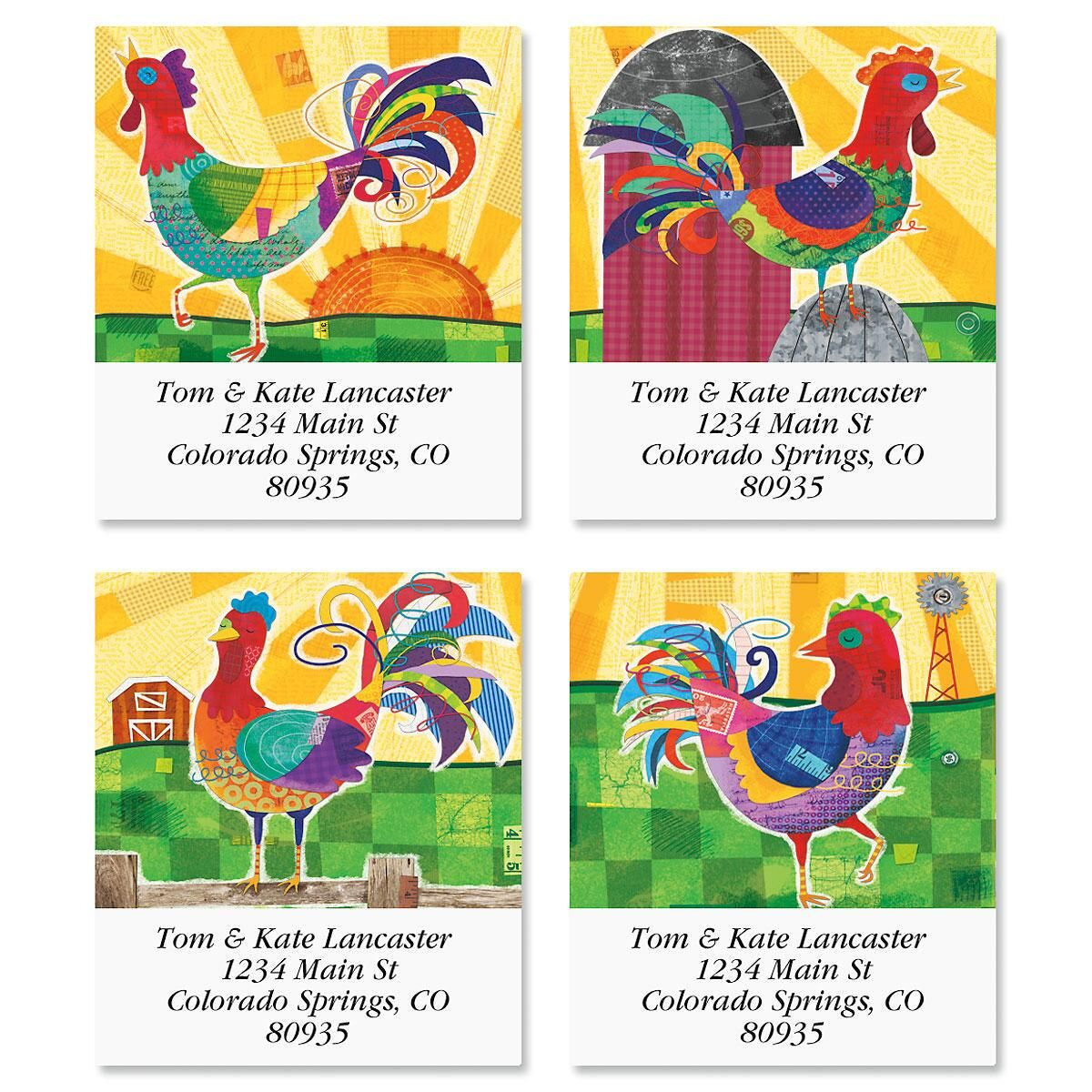 Spunky Rooster Select Address Labels  (4 Designs)