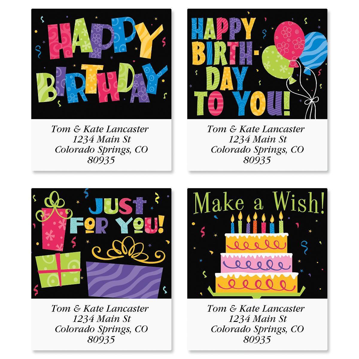 Bright on Black Select Return Address Labels  (4 Designs)