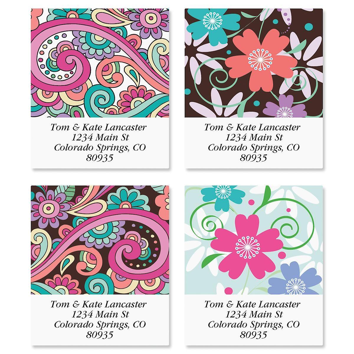 Floral Paisley Select Return Address Labels  (4 Designs)