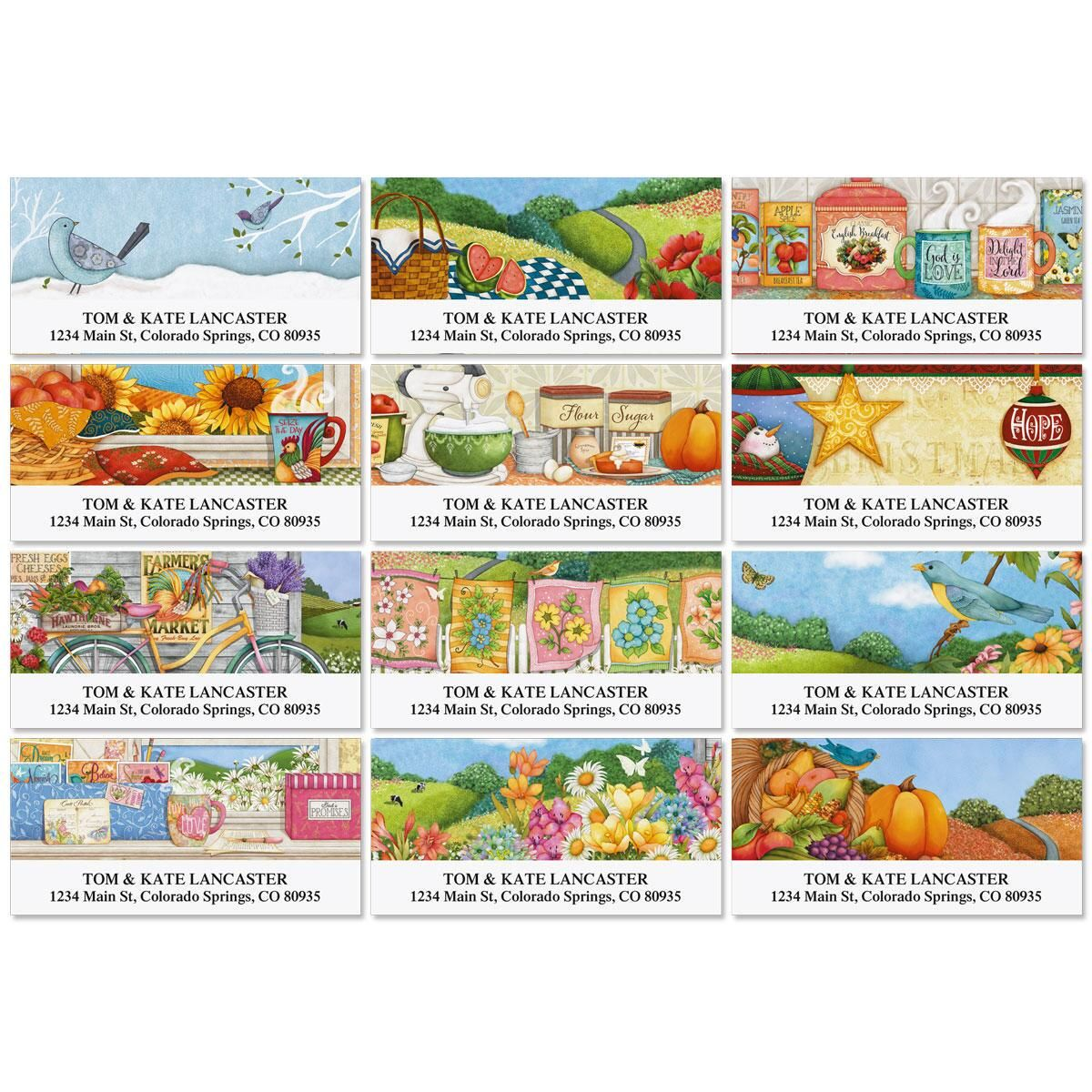 Country Pleasures Deluxe Return Address Labels  (12 Designs)