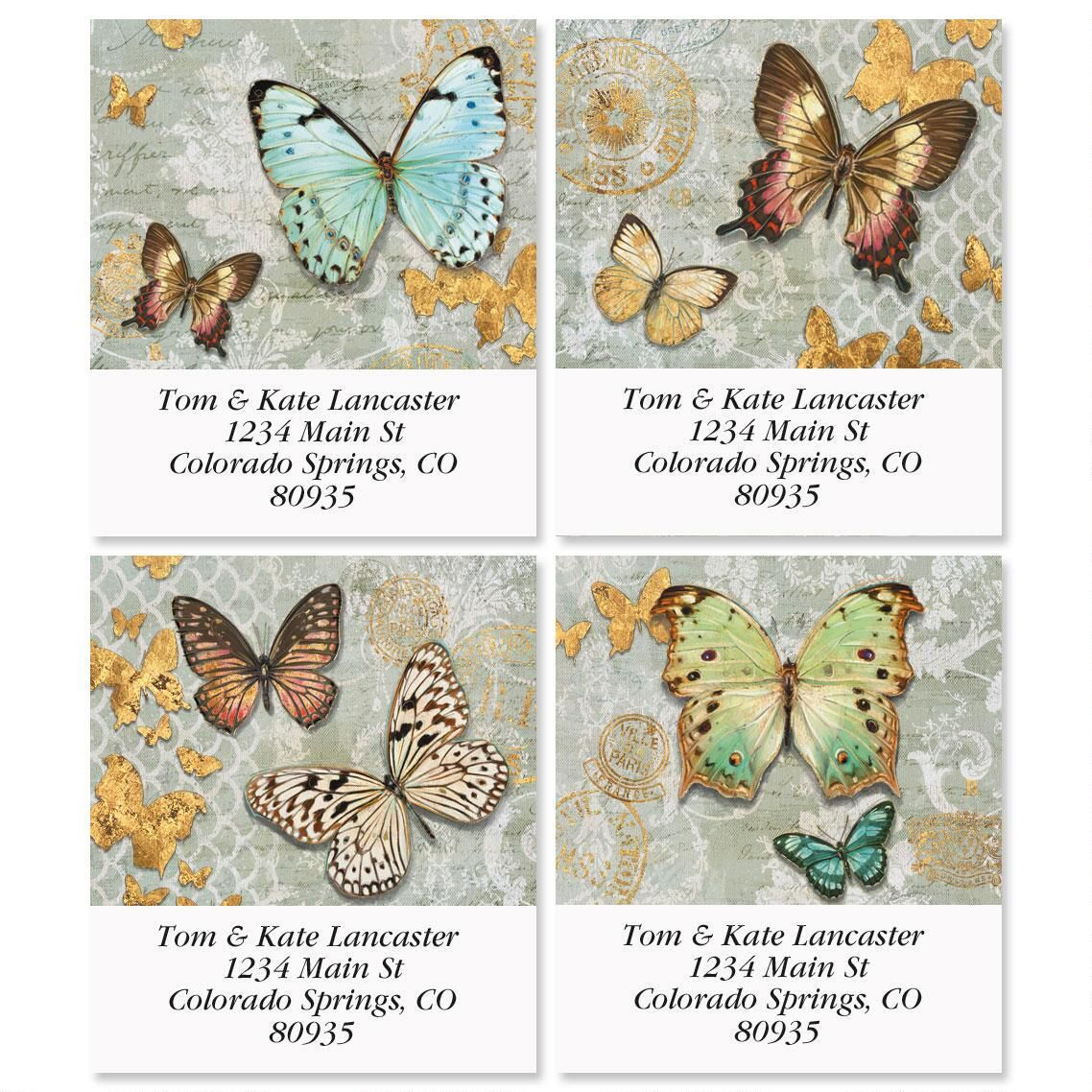Gilded Butterflies Select Return Address Labels  (4 Designs)