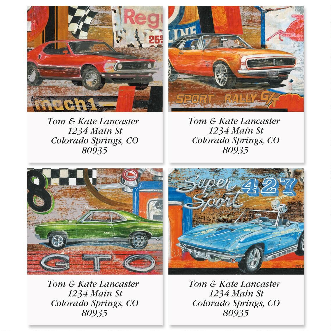 Muscle Cars Select Return Address Labels  (4 Designs)