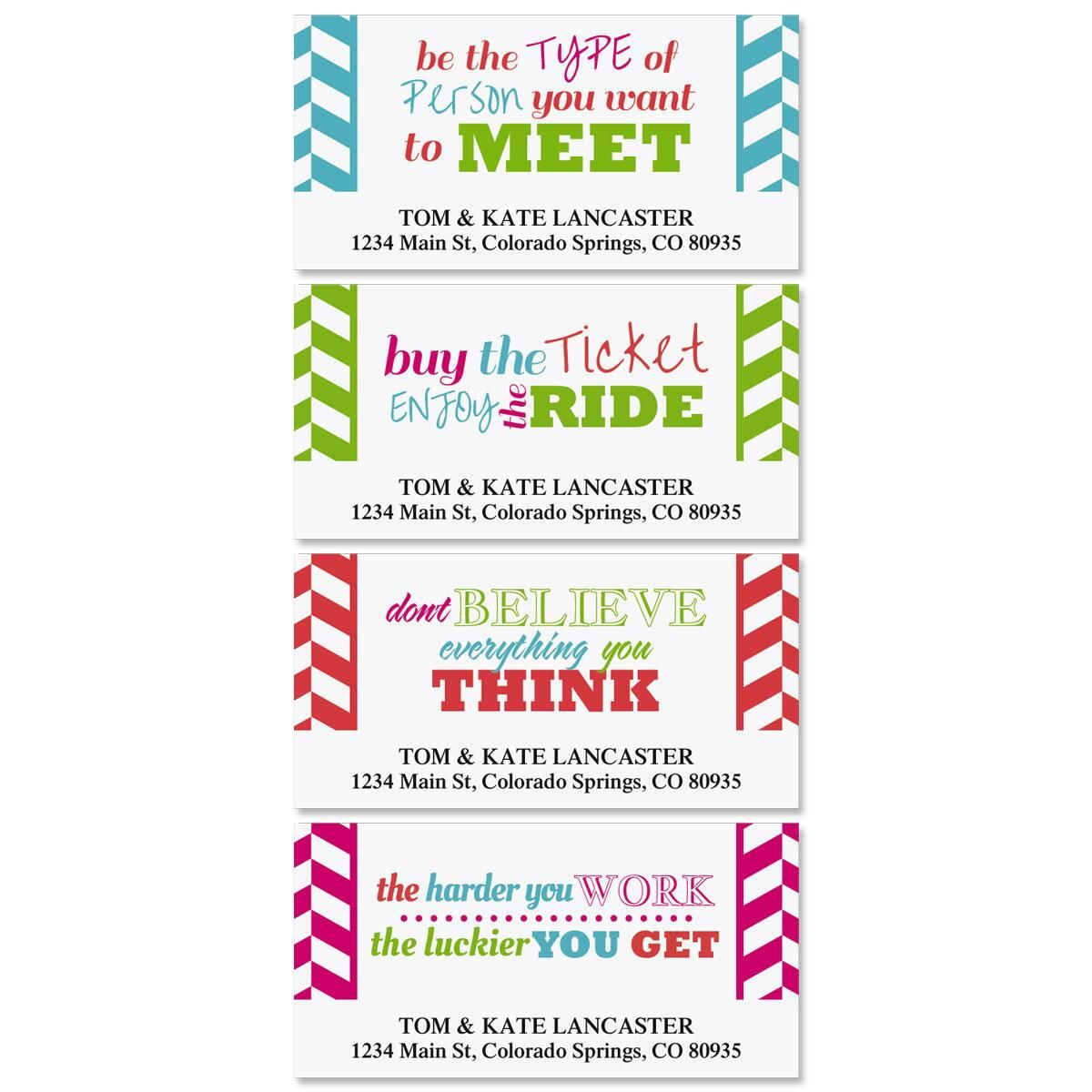 Happy Colors Deluxe Return Address Labels  (4 Designs)