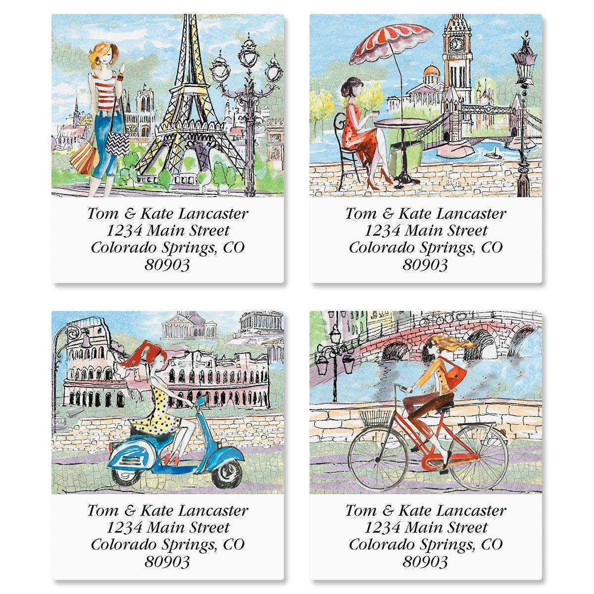 Travel Log Select Return Address Labels  (4 Designs)