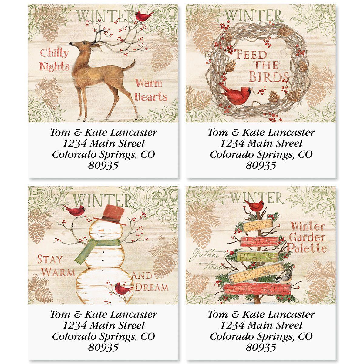 Winter Palette Select Return Address Labels  (4 Designs)