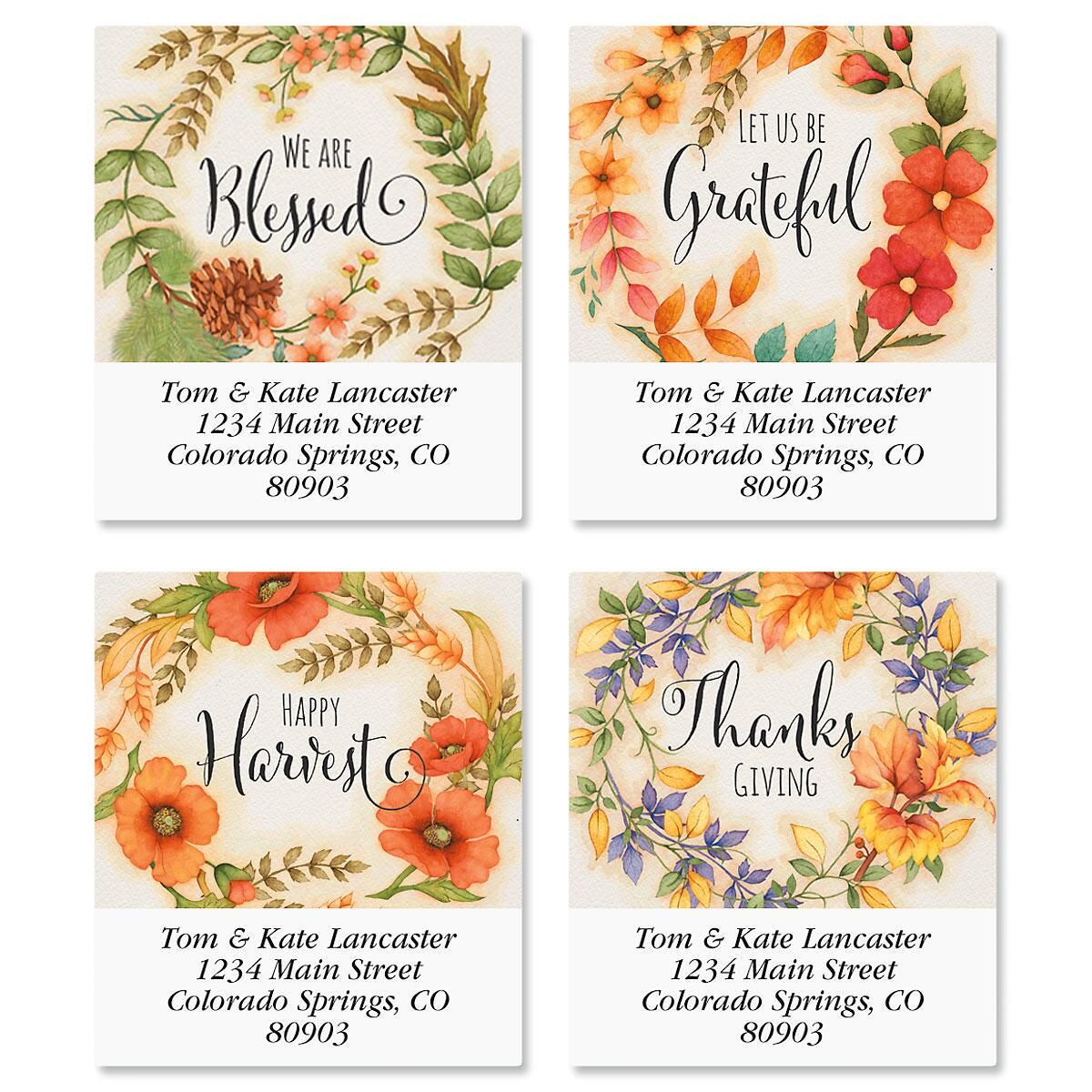 Autumn Wreaths Select Return Address Labels  (4 Designs)