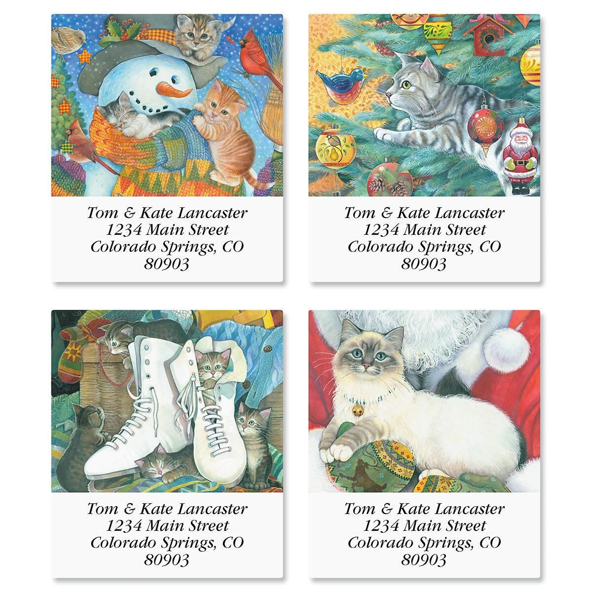 Christmas Cats Select Return Address Labels  (4 Designs)