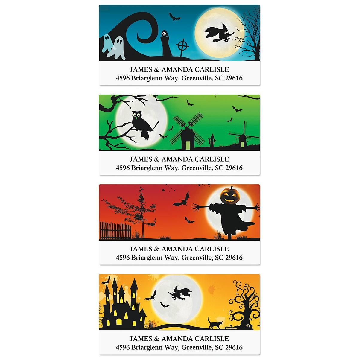 Spooky Scenes Deluxe Return Address Labels  (4 Designs)