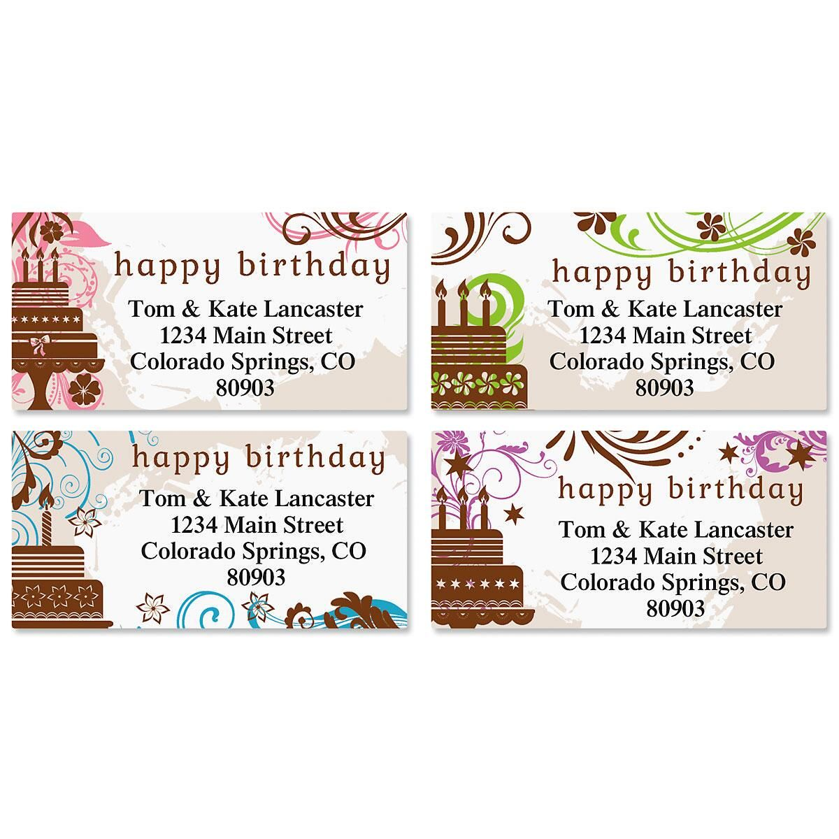 Cake Silhouette Border Address Labels  (4 Designs)