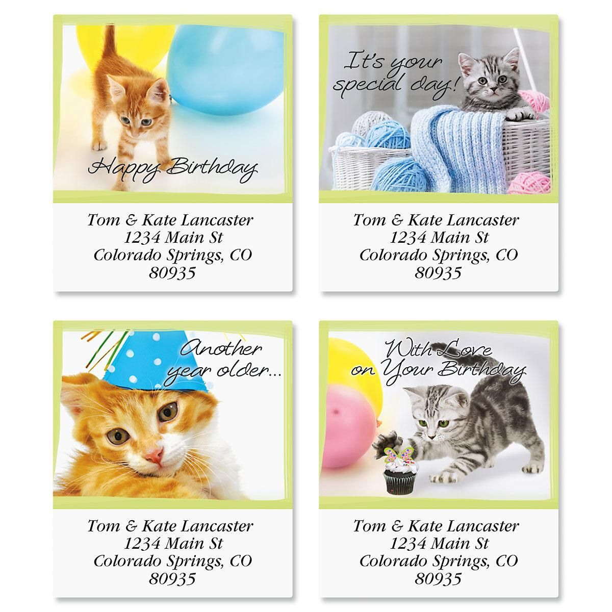 Birthday Cats Select Return Address Labels  (4 Designs)