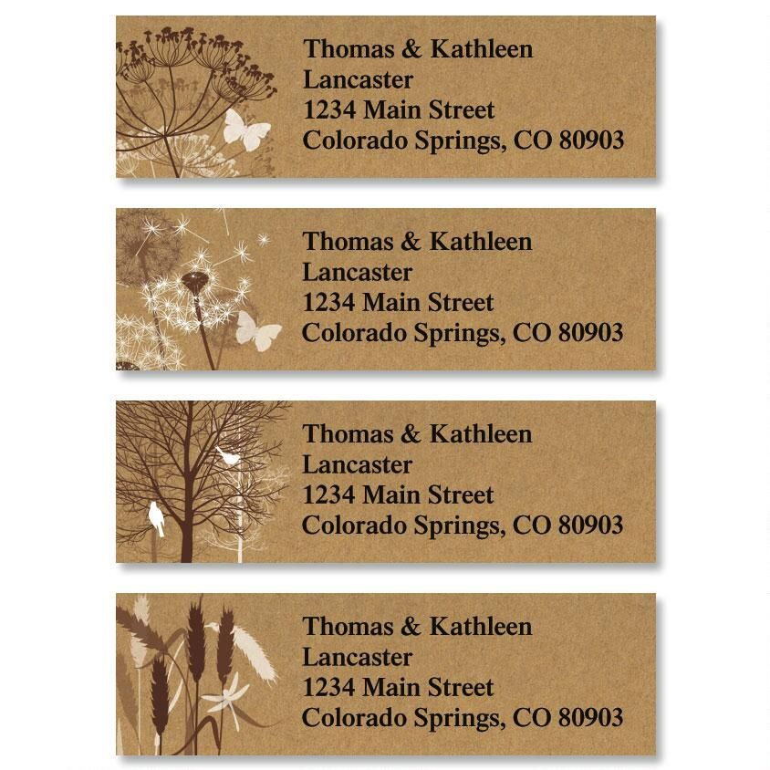 Kraft Foliage Classic Return Address Labels  (4 Designs)
