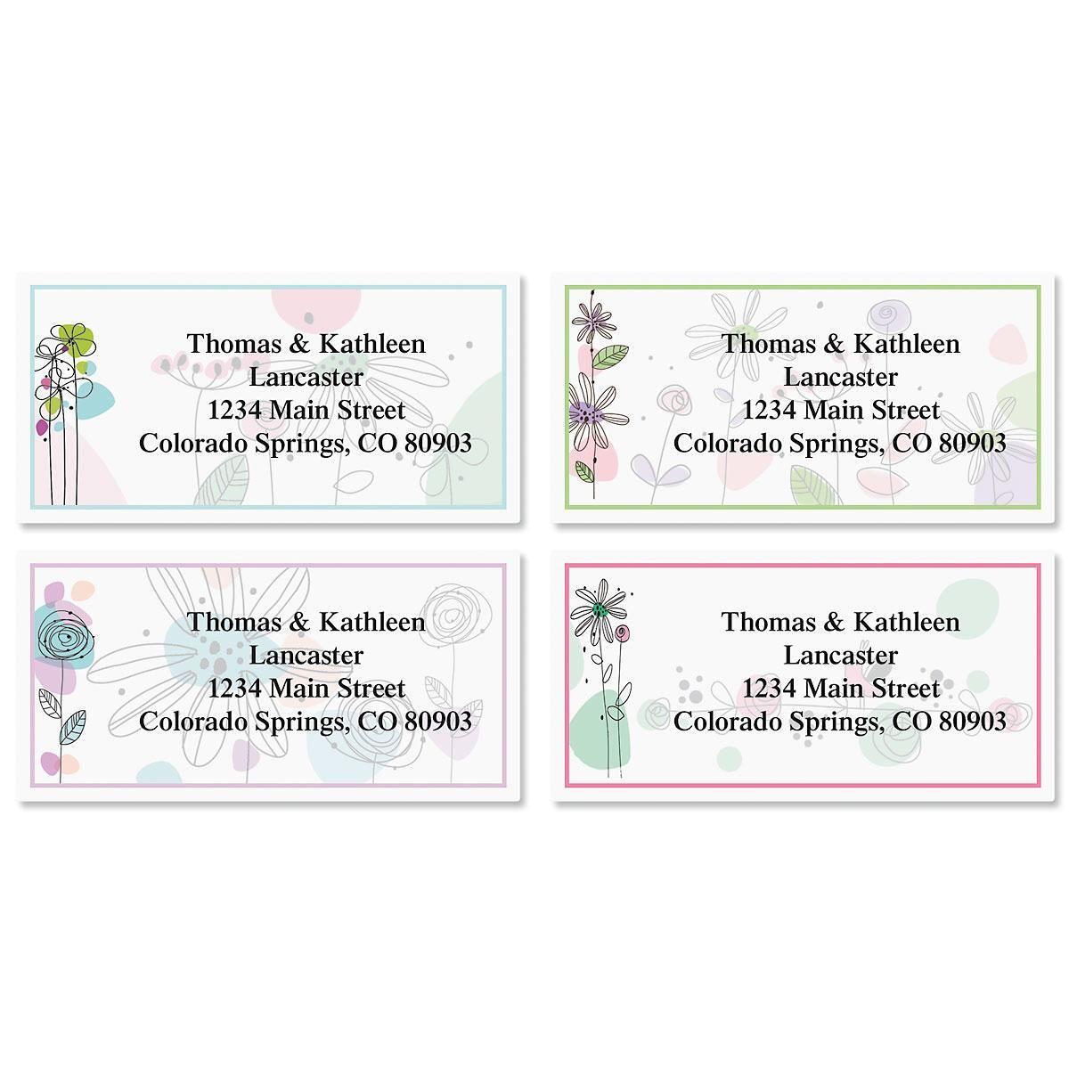 Sketched Flowers Border Return Address Labels  (4 Designs)