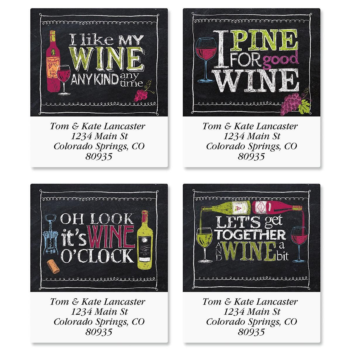 Wine Time Select Return Address Labels  (4 Designs)
