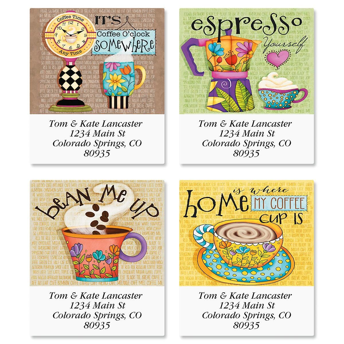 Coffee Select Return Address Labels  (4 Designs)