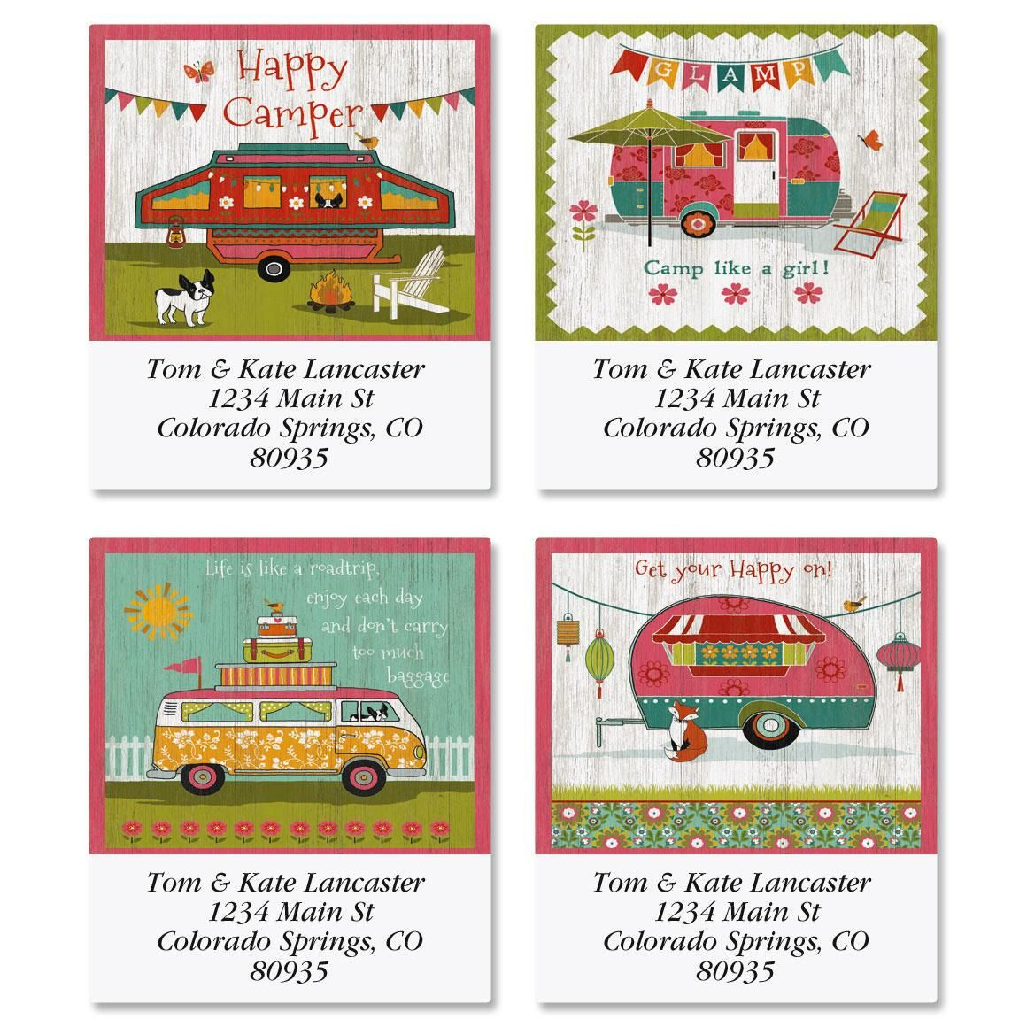 Glamping Select Return Address Labels  (4 Designs)