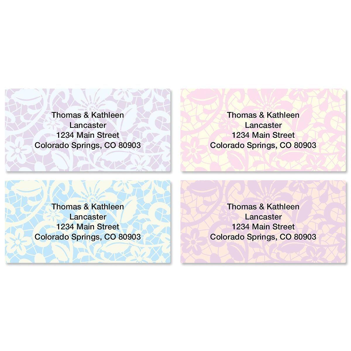 Lace Border Return Address Labels  (4 Designs)