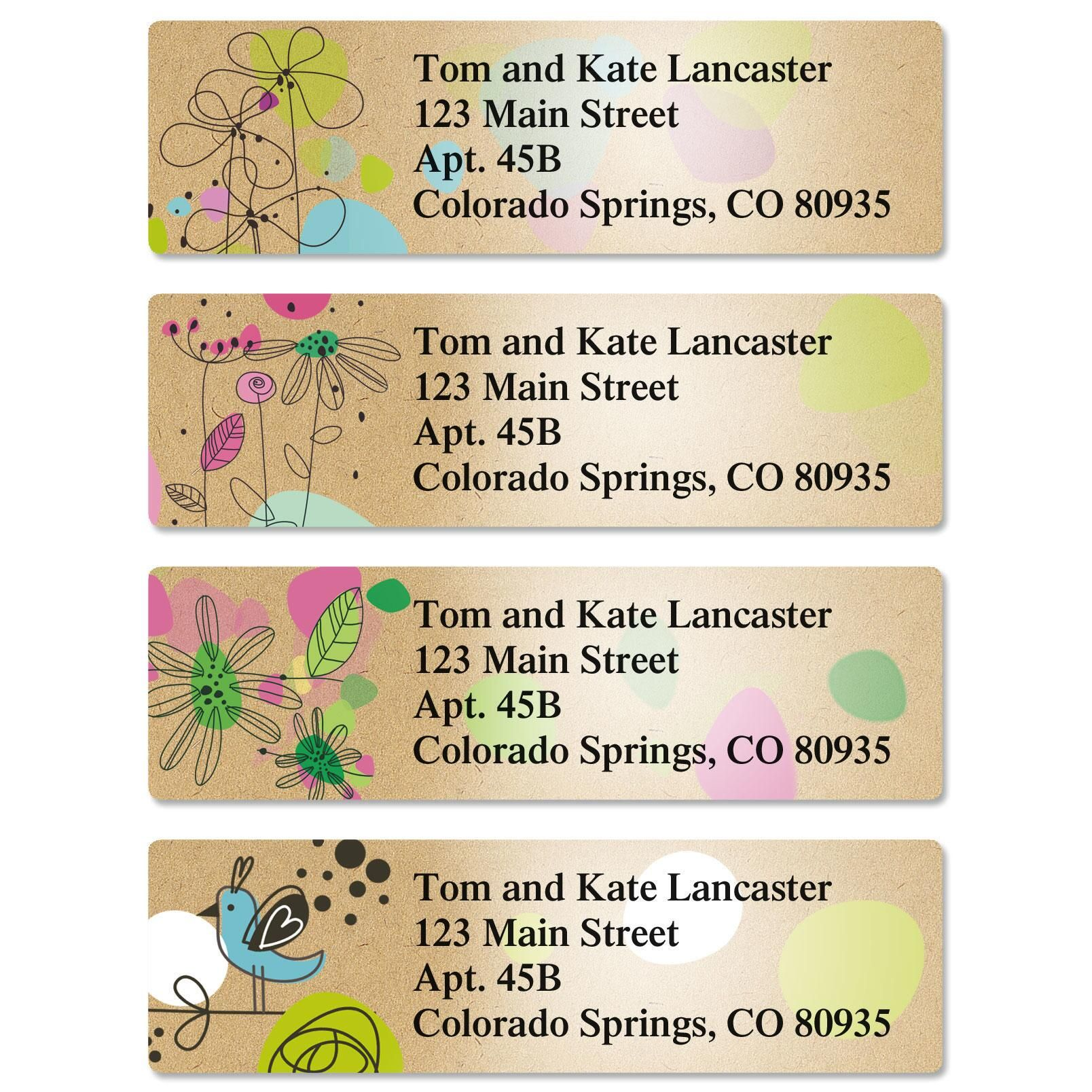 Kraft Blossoms Classic Address Labels  (4 Designs)