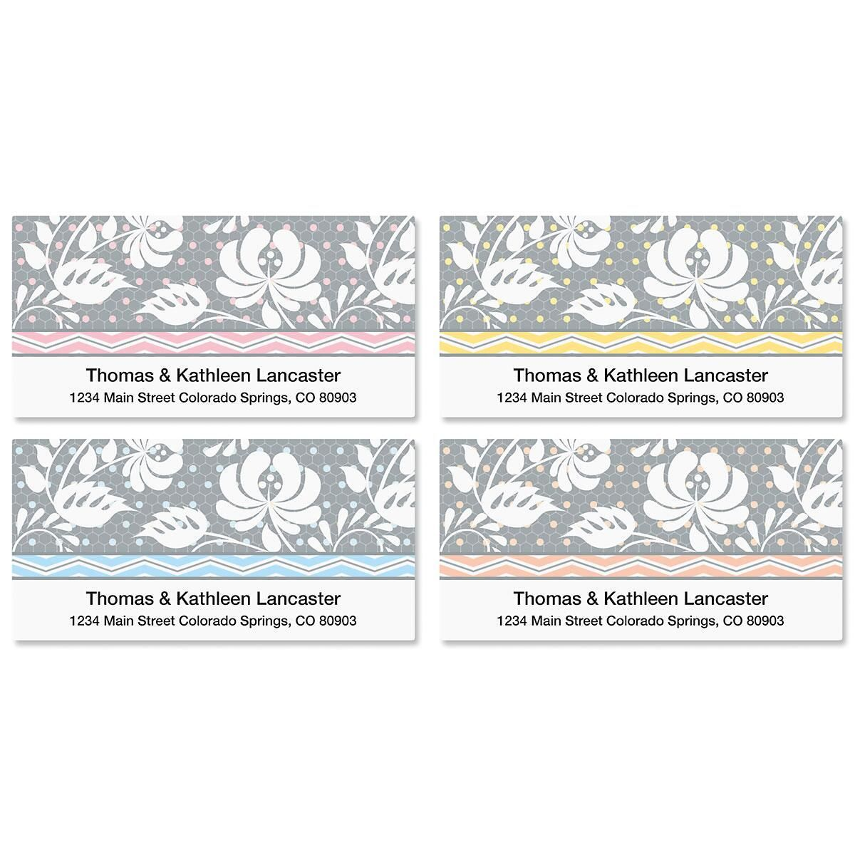 Gray Botanical Deluxe Return Address Labels  (4 Designs)