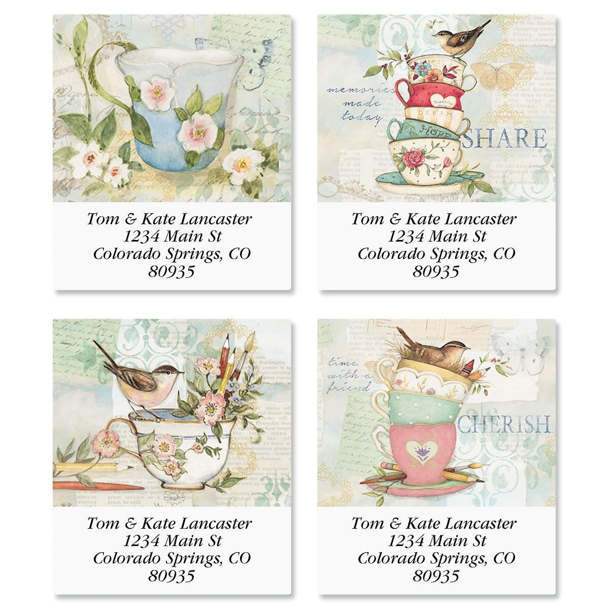 Teacups Select Return Address Labels  (4 Designs)