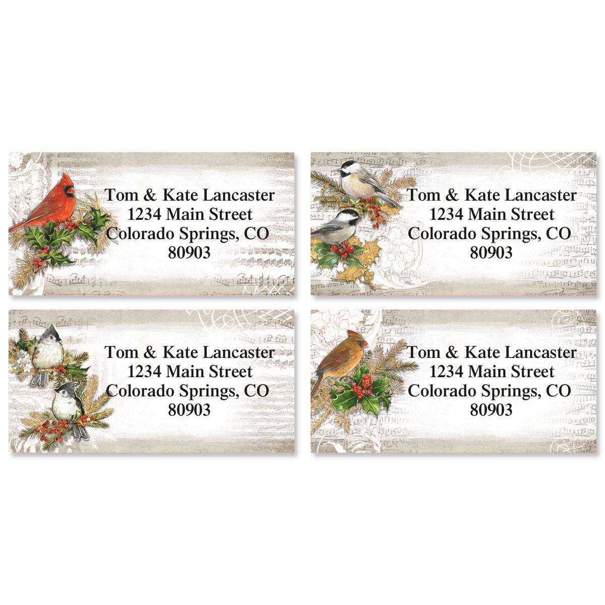 Musical Birds Border Return Address Labels  (4 Designs)