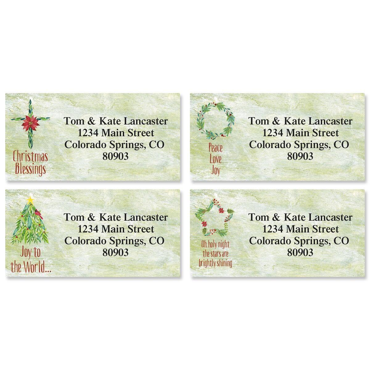 Christmas Garlands Border Address Labels  (4 Designs)
