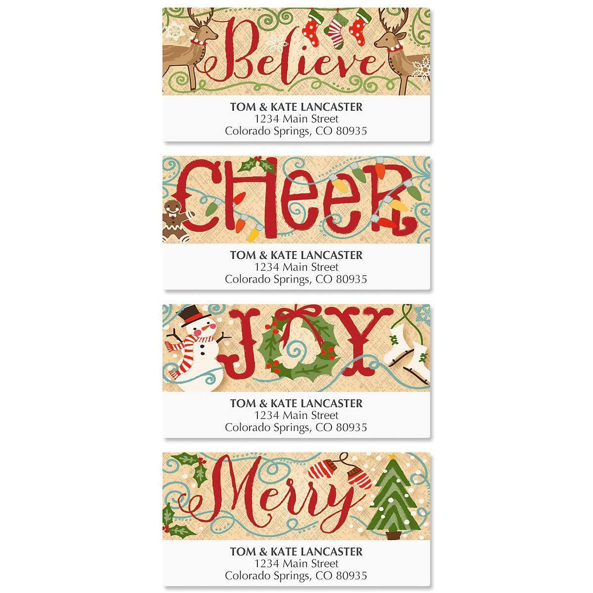 Country Christmas Deluxe Return Address Labels  (4 Designs)