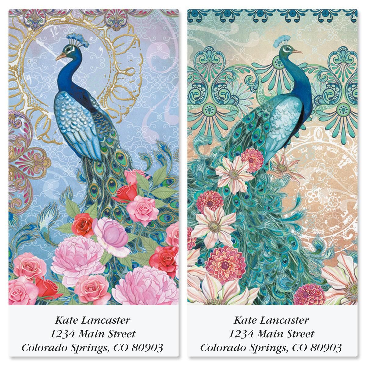 Peaceful Peacocks Oversized Return Address Labels  (2 Designs)