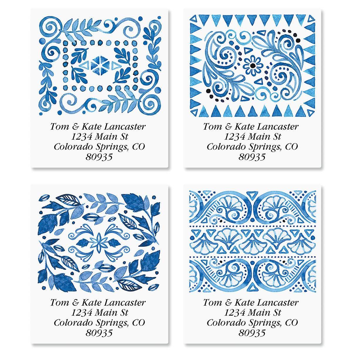 Crazy Quilt Indigo Select Return Address Labels  (4 Designs)