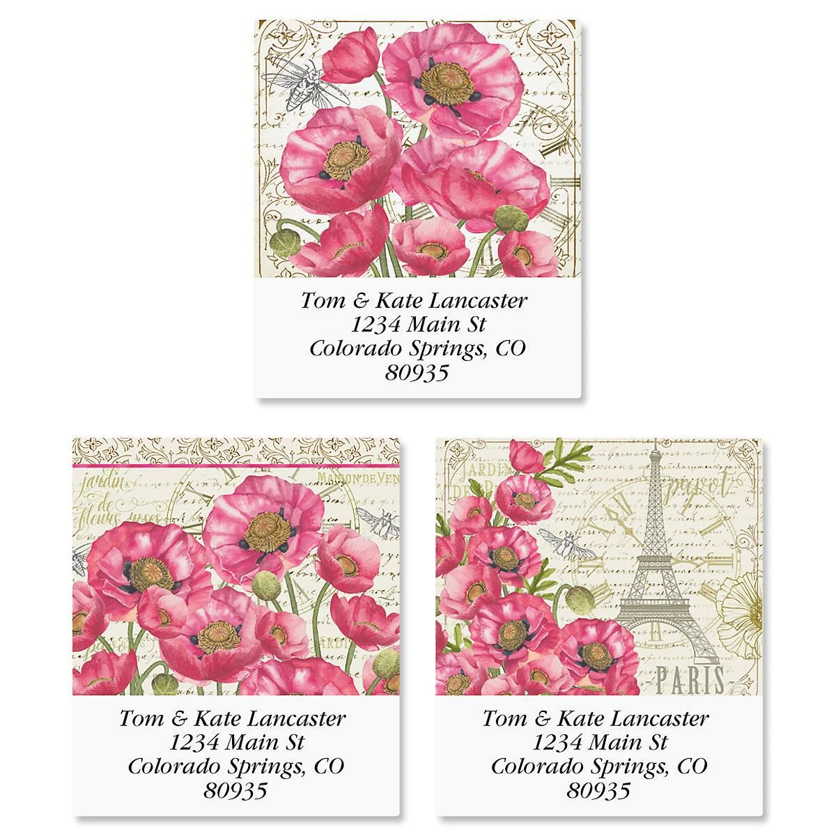 Parisian Poppies Select Return Address Labels  (3 Designs)