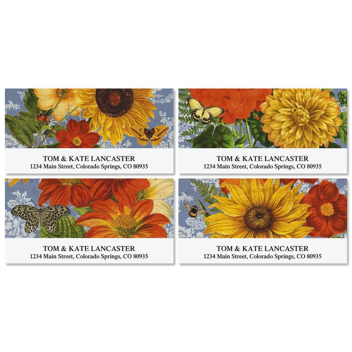 Sunflower Chambray Deluxe Return Address Labels  (4 Designs)