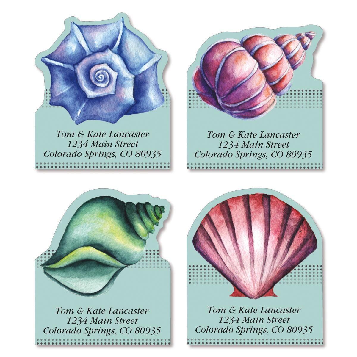 Ocean Treasure Diecut Return Address Labels  (4 Designs)