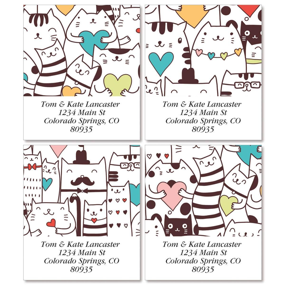 Cats with Hearts Select Return Address Labels  (4 Designs)