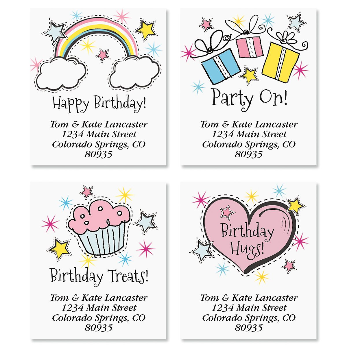 Pop Birthday Select Return Address Labels (4 Designs)