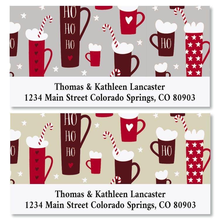 Hot Cocoa Deluxe Christmas Address Labels (2 Colors)