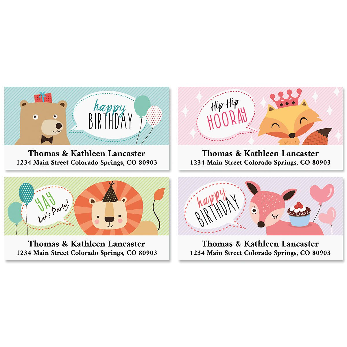 Kid's Birthday Deluxe Return Address Labels (4 Designs)