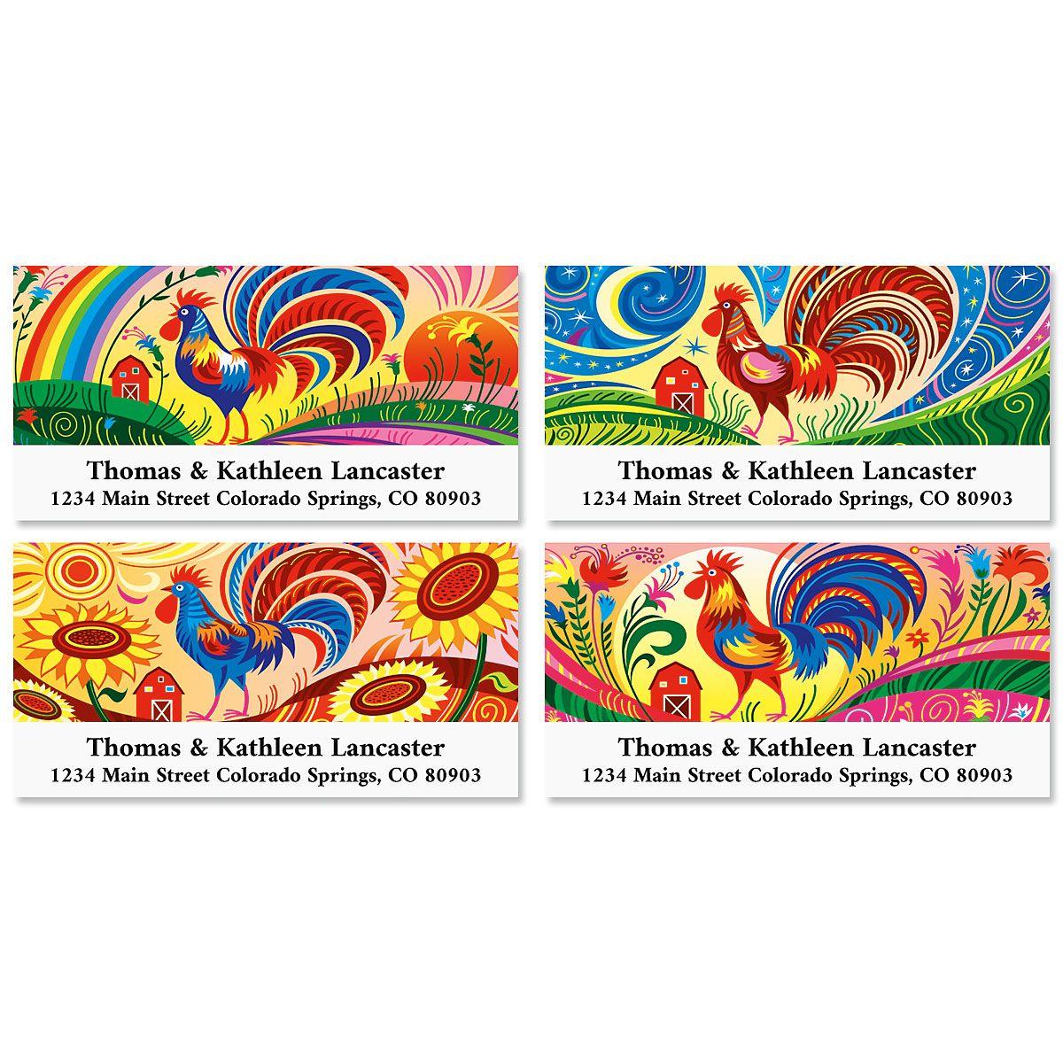 Rooster Doodle Doo Deluxe Return Address Labels (4 Designs)