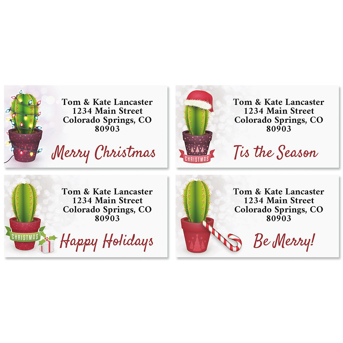 Festive Cacti Border Return Address Labels (4 Designs)