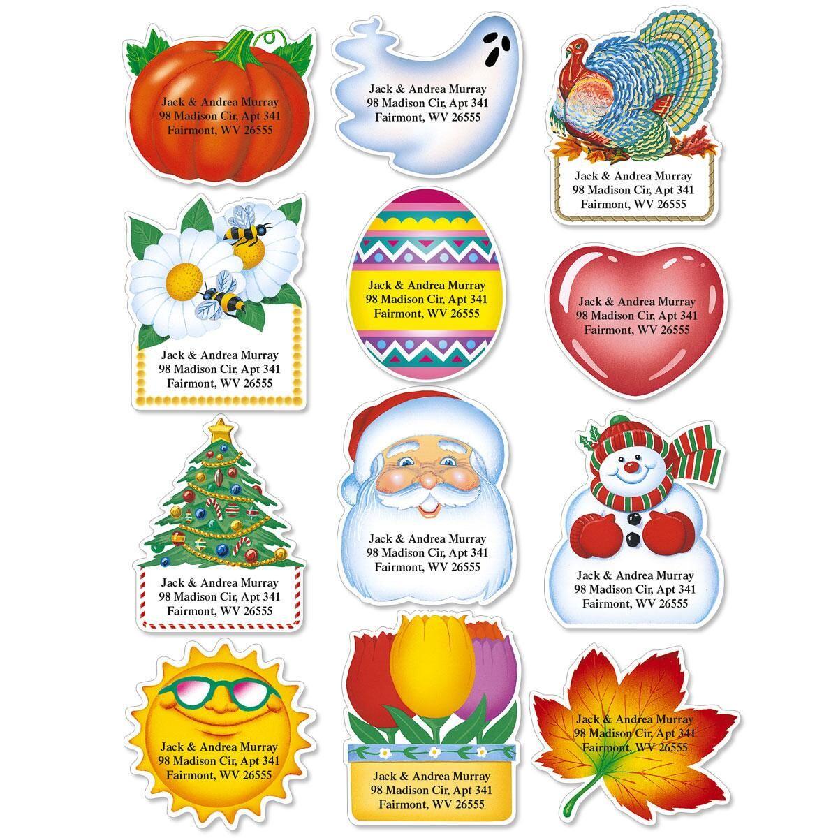 Holidays Year-Round Diecut Return Address Labels  (12 Designs)